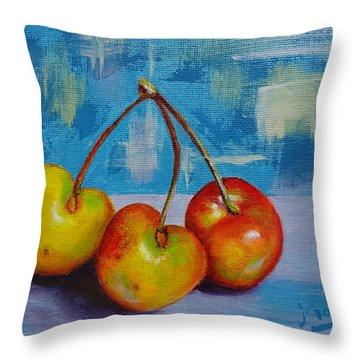 Cherries Trio Throw Pillow