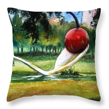 Cherry And Spoon Throw Pillow by Marilyn Jacobson