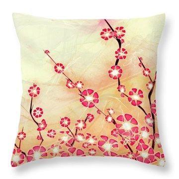 Cherry Blossom Throw Pillow by Anastasiya Malakhova