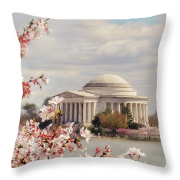 Cherry Blossom And Jefferson Throw Pillow