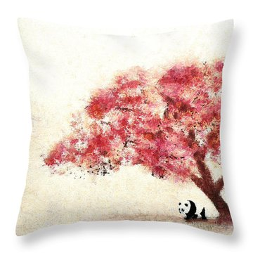 Cherry Blossom And Panda Throw Pillow