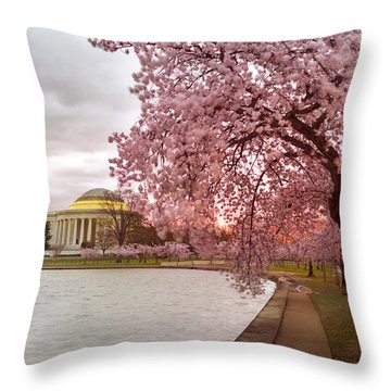 Cherry Blossom At Tidal Basin, Dc Throw Pillow