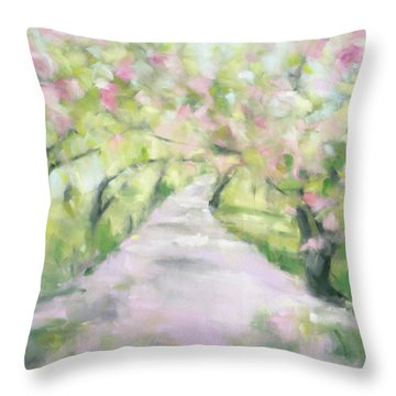 Cherry Blossom Bridle Path Central Park Throw Pillow