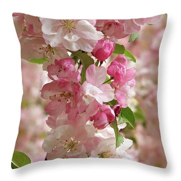 Cherry Blossom Closeup Vertical Throw Pillow by Gill Billington