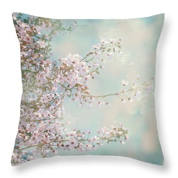 Throw Pillow featuring the photograph Cherry Blossom Dreams by Linda Lees