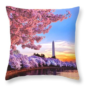 Cherry Blossom Festival  Throw Pillow by Olivier Le Queinec