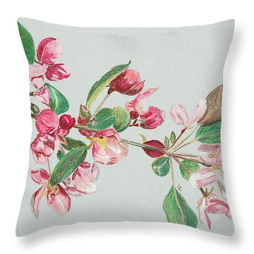 Cherry Blossom Throw Pillow by Glenda Zuckerman