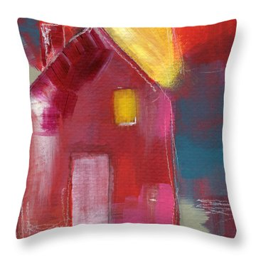 Cherry Blossom House- Art By Linda Woods Throw Pillow
