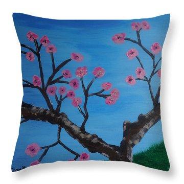 Cherry Blossoms II Throw Pillow