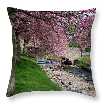 Throw Pillow featuring the photograph Cherry Blossom In Central Scotland by Jeremy Lavender Photography