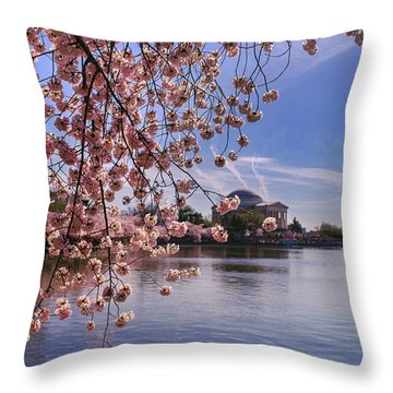 Throw Pillow featuring the photograph Cherry Blossom Over Tidal Basin by Rima Biswas