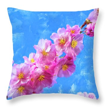 Throw Pillow featuring the painting Cherry Blossom Pink - Impressions Of Spring by Mark Tisdale