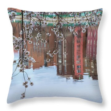 Cherry Blossom Reflections Throw Pillow