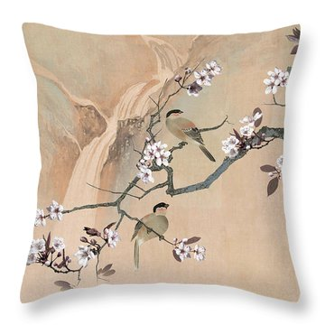 Cherry Blossom Tree And Two Birds Throw Pillow