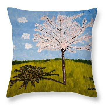 Cherry Blossom Tree Throw Pillow by Valerie Ornstein