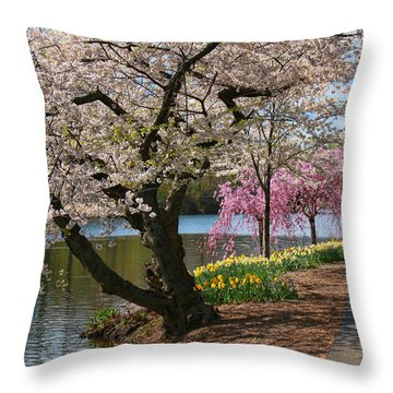 Cherry Blossom Trees Of Branch Brook Park 17 Throw Pillow