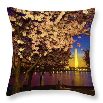 Cherry Blossom Washington Monument Throw Pillow