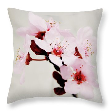 Throw Pillow featuring the mixed media Cherry Blossoms 1- Art By Linda Woods by Linda Woods