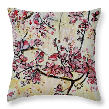 Cherry Blossoms 201751 Throw Pillow by Alyse Radenovic