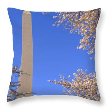 Cherry Blossoms And Washington Throw Pillow by Panoramic Images