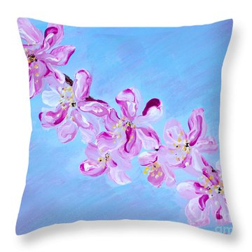 Cherry Blossoms. Thank You Collection Throw Pillow