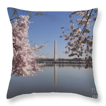 Cherry Blossoms Monument Throw Pillow by April Sims