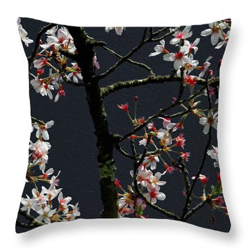 Cherry Blossoms On Dark Bkgrd Throw Pillow