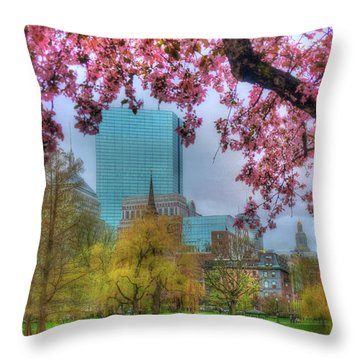 Throw Pillow featuring the photograph Cherry Blossoms Over Boston by Joann Vitali