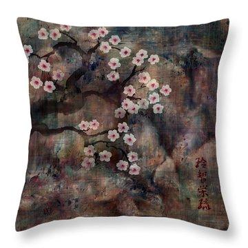 Cherry Blossoms Throw Pillow by Rachel Christine Nowicki