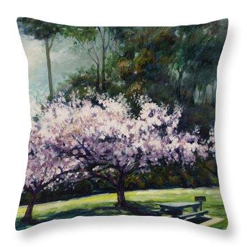Cherry Blossoms Throw Pillow by Rick Nederlof