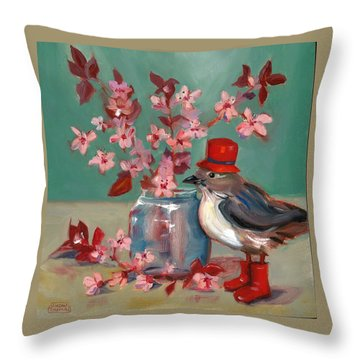 Throw Pillow featuring the painting Cherry Blossoms by Susan Thomas
