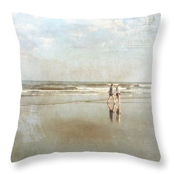 Cherry Grove Beach Walk Throw Pillow