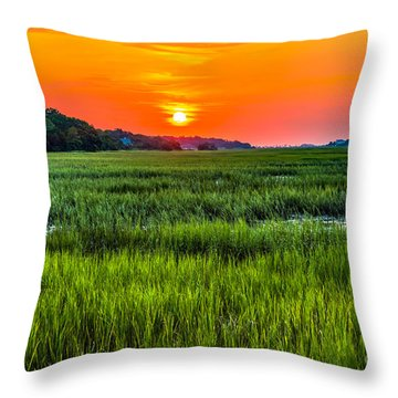 Cherry Grove Marsh Sunrise Throw Pillow