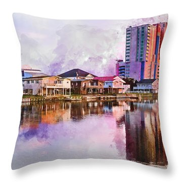 Cherry Grove Skyline - Digital Watercolor Throw Pillow