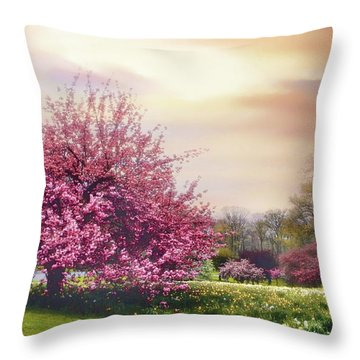 Throw Pillow featuring the photograph Cherry Orchard Hill by Jessica Jenney
