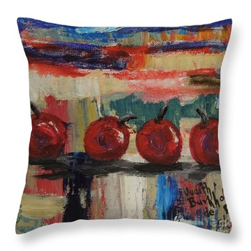 Cherry Parade - Sold Throw Pillow by Judith Espinoza