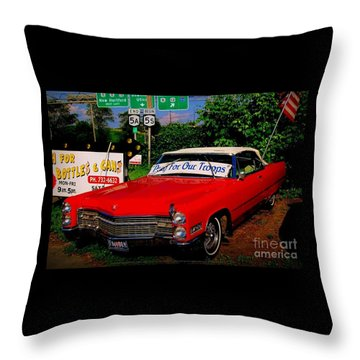 Throw Pillow featuring the photograph Cherry Red American Patriot 1966 Cadillac Coupe De Ville by Peter Gumaer Ogden