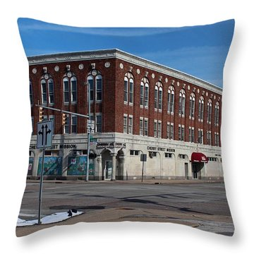 Cherry Street Mission In Winter Throw Pillow