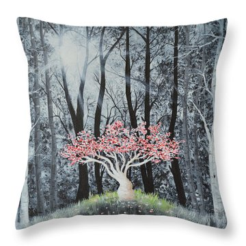 Throw Pillow featuring the painting Cherry Surprise by Mary Scott