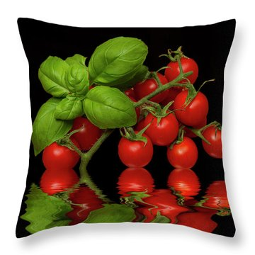 Throw Pillow featuring the photograph Cherry Tomatoes And Basil by David French