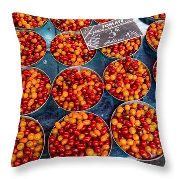 Cherry Tomatoes In Lyon Market Throw Pillow
