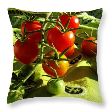 Throw Pillow featuring the photograph Cherry Tomatoes by Shawna Rowe