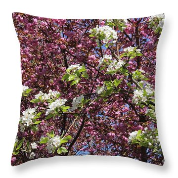 Cherry Tree And Pear Blossoms Throw Pillow