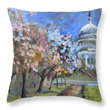 Cherry Tree Blossoms In Washington Dc Throw Pillow