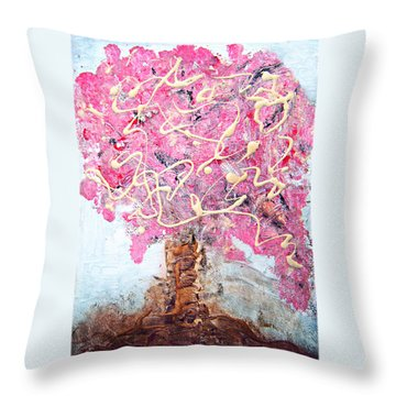 Cherry Tree By Colleen Ranney Throw Pillow