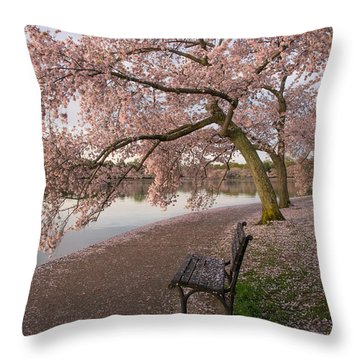 Cherry Trees And Park Bench Throw Pillow
