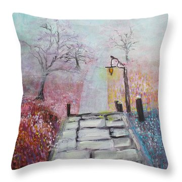 Throw Pillow featuring the painting Cherry Trees In Fog by Donna Dixon