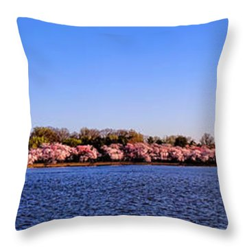 Cherry Trees On The Tidal Basin And Washington Monument  Throw Pillow