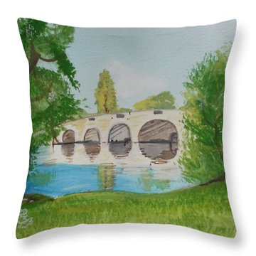 Chertsey Bridge Throw Pillow by Carole Robins