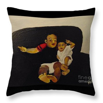 Throw Pillow featuring the painting Cherubs by Saundra Johnson